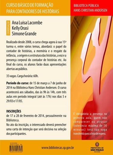 Curso Básico de Formação para Contadores de Histórias tem ionscrições abertas para 1º semestre de 2014